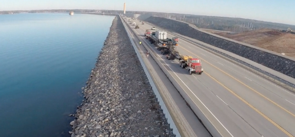 Drone Used To Record Heavy-Duty Truck Hauling Cargo