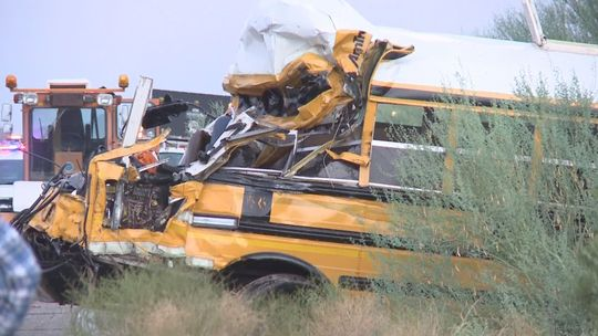 Prison Bus Totalled After Hitting Semi In Arizona