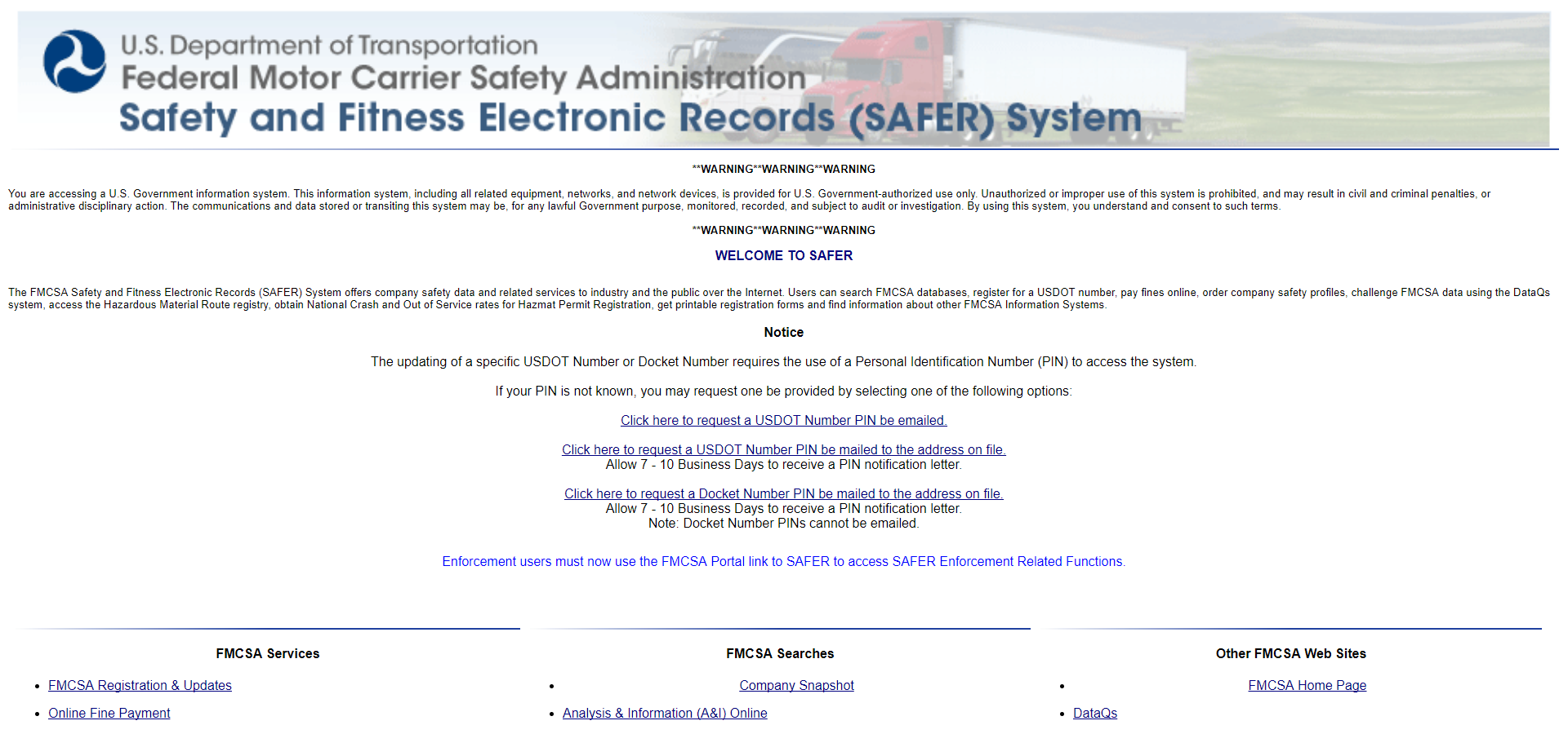What is safersys safer system truckers logic for Federal motor carrier number
